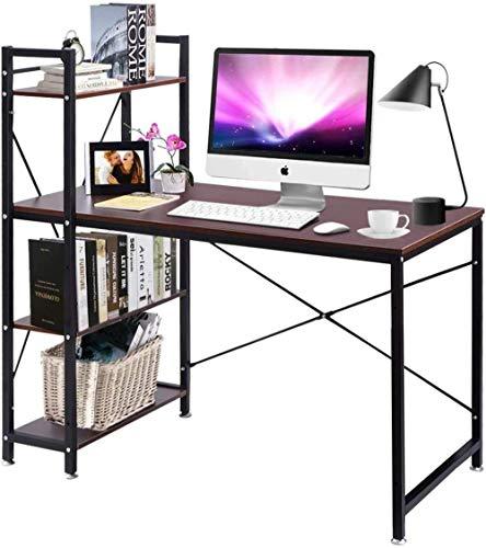 Thuiskantoor bruin notenhouten computerbureau met 4-laags boekenplank boekenkast PC-speeltafel (bruin) bureau en werkstation voor thuiskantoor