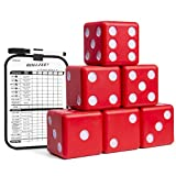 "GoSports Giant 3.5"" Red Foam Playing Dice Set with Bonus Scoreboard (Includes 6 Dice, Dry-Erase Scoreboard and Carrying Case) (GD-6-FOAM-RED)"