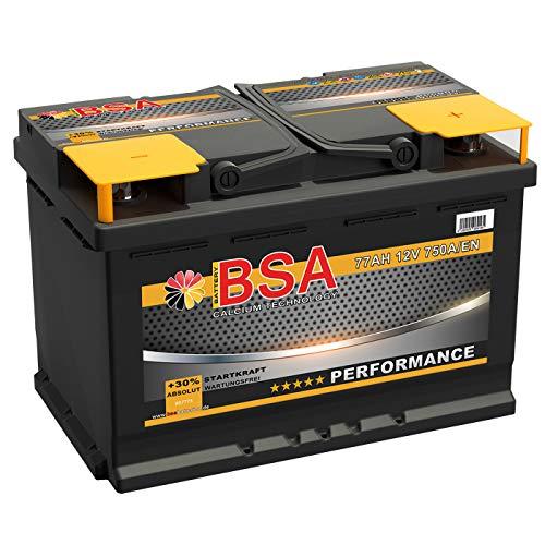 BSA Autobatterie 77Ah 12V Batterie 750A/EN +30% Startleistung ersetzt 68AH 70AH 72AH 74AH 75AH 80AH