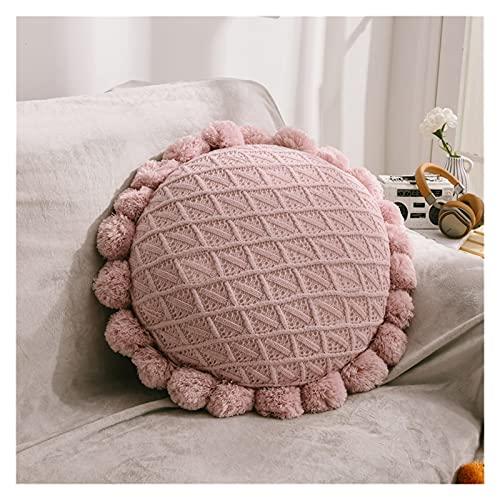 JSJJWSX Almohadas y cojines de 50 cm de punto suave redondo futón Mat Home Dormitorio Salón Decoración Foto Props (Color: Rosa)