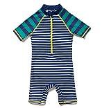 BONVERANO Baby Junge EIN stück Kurzärmel-Kleidung UV-Schutz 50+ Badeanzug MIT Einem Reißverschluss(Grüne-Fringe,6-9M)