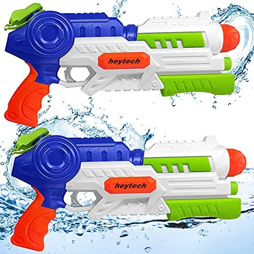 heytech Pack de 2 pistolas de agua, gran capacidad de 1,2 L...