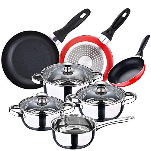 San Ignacio Batería de cocina 7 piezas en acero inoxidable + Juego de 3 sartenes 16/20/24 cm, PK3375