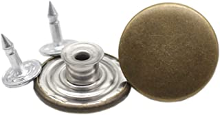 YaHoGa 20 Sets 20mm (4/5 Inch) Jean Tack Buttons Antique Brass 40pcs Replacement Jean Buttons Bulk