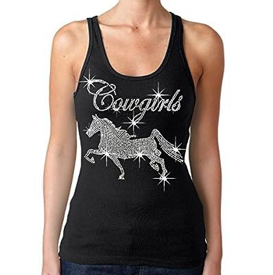 Interstate Apparel Inc Rhinestone Cowgirls Horse Tank Top Juniors S-3XL Black (2XL (Juniors), Black)