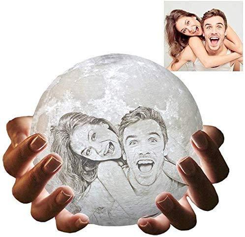 Moon Lamp Globe Lampe mit Bild Customized Moon Light 3D-gedrucktes LED-Nachtlicht mit Standfernbedienung für Baby Family Lover als Geschenk zum Valentinstag 4,7 '3 Farben