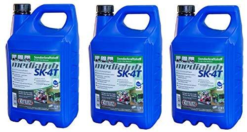 KETTLITZ 3 x 5 Liter Medialub SK-4T Alkylatbenzin/Sonderkraftstoff für 4 Takt, Rasenmäher usw. KWF Geprüft