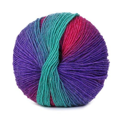 Dabixx Filato di Lana, Tessuto a Mano Arcobaleno colorato Uncinetto Lana Cashmere Miscela Filato per Maglieria - 1 Palla (50g) - 65#