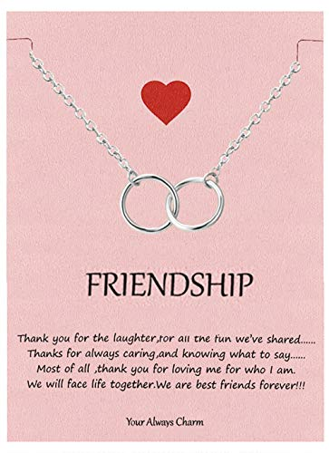 Your Always Charm Double Circle Knot Necklace,Two Interlocking Infinity Circles Gift for Best Friend (Silver)