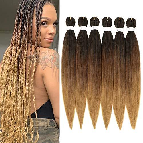 Vorgedehntes Flechthaar Easy Braid Professional Juckreizfreie Kunstfaser-Häkelborten Yaki Texture Hair Extensions 6 Packungen Braid Hair 26 inch (1B/30/27#)