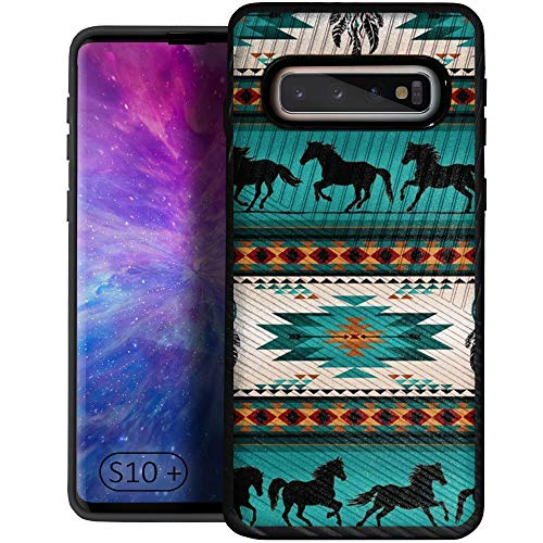 CasesOnDeck Case Compatible with [Samsung Galaxy S10+ / S10 Plus (2019) 6.4' Screen] Textured Tribal Floral Designs On Dual Layer Embossed Slim Cover (Horse Tribal)