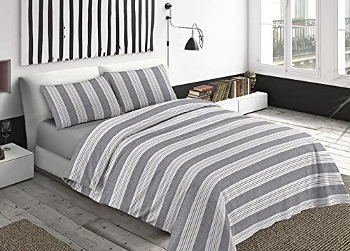 Juego de sábanas para Cama de Dormitorio de 100 % algodón, Fabricado en Italia, sábanas para Cama de 1 Plaza, Rayas Grises