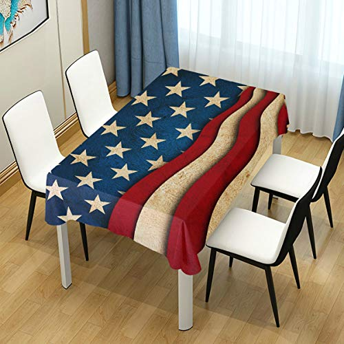 Naanle American Flag Star and Stripe Square Tablecloth 60'(W) x 60'(L), 4th of July Independence Day Modern Table Linen Cloth Cover for Kitchen Dining Room Party Home Decor