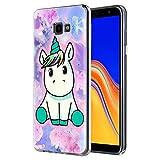 Funda Samsung Galaxy J4 Plus, ZhuoFan Cárcasa Silicona 3D Transparente con Dibujos Diseño Suave Gel TPU [Antigolpes] de Protector Fundas para Movil Samsung J4 Plus 2018 (Pretty Unicornio)