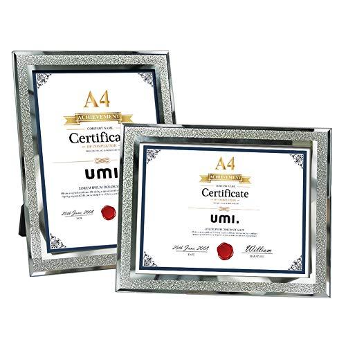 Amazon Brand - Umi A4 Glasrahmen zum Tischplatten für Urkunde Dokumente und Zertifikate,2er Set