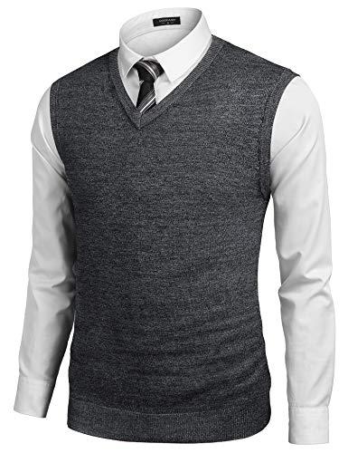 COOFANDY Men's Sleeveless Sweater Vest Lightweight V-Neck Solid Cotton Vest Pullover Black