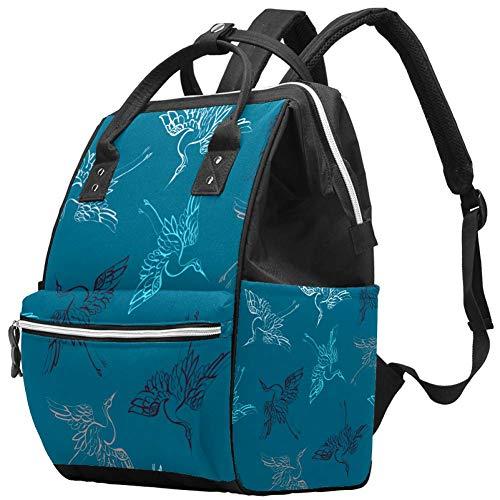 Multifunktions-Wickeltaschen-Rucksack, groß, blauer Hintergrund, asiatischer Kranich Vögel Muster Windeltasche Reiserucksack für Mama und Papa