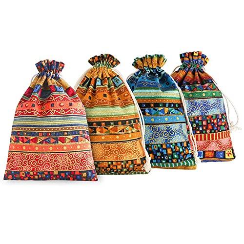 20 Piezas étnico Azteca Bolsa De Lino Con Cordón Bolsa De Joyería Bolsa De Almacenamiento Decoraciones De Fiesta 4 Colores Promedio Mixto