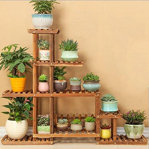TtYj-- Soporte de flores multifuncional, estante de madera antiséptico para balcón de 5 niveles, estante de almacenamiento multiusos para interiores (color: marrón)