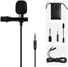 Lavalier Lapel Microphone Kit Shooter Omnidirectional Condenser Lav Mic Clip-on Lapel Mic for iPhone, iPad, GoPro, DSLR, Camcorder, Zoom/Tascam Recorder, MacBook, Samsung Android, Smartphones