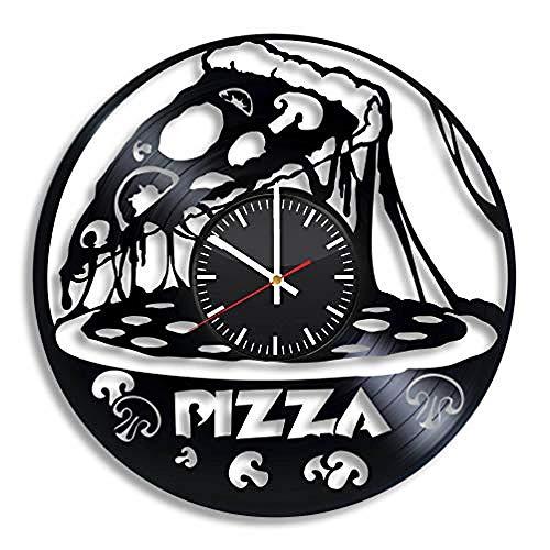 AIYOUBU Pizza Food Pepperoni Orologio da Parete inVinile Disco in Vinile Art Decor Fatto a Mano per la casa Camera CucinaRegalo Originale Vintage per Ogni OccasioneForniture per Feste Decorazione