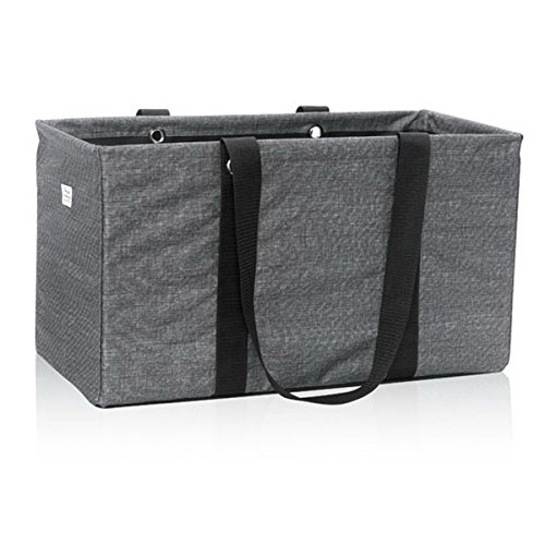 Thirty One Large Utility Tote in Charcoal Crosshatch - No Monogram - 3121
