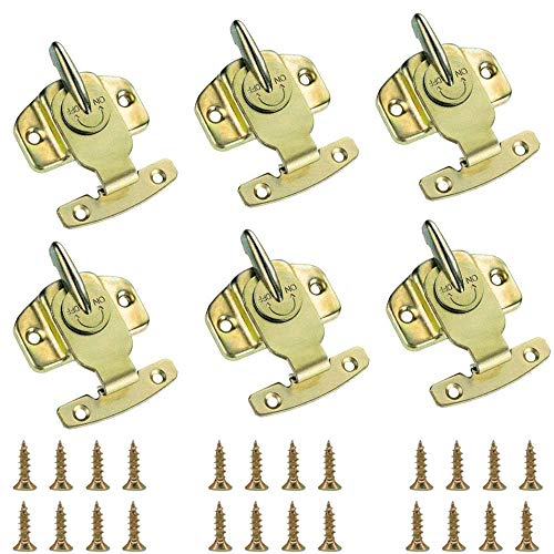 Table Buckles, Riccioofy Metal Table Locks 6 Pieces Training Dining Table Connector Door Drawer Cabinet Buckle Hardware Accessories - Brass Plated