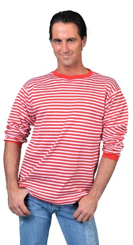 Ringelshirt Erwachsene Gr. S - XXL (XX-Large, rot-weiß)