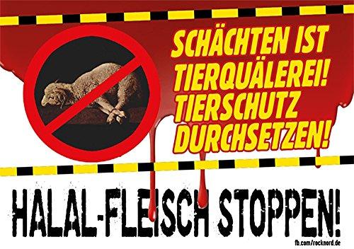 Aufkleber / Sticker - Halal-Fleisch stoppen! (Sticker-Set, 10 Stück)