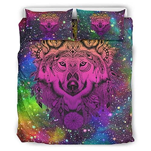 Viiry Juego de edredón de 3 piezas, color rosa lobo, suave, ligero, para dormitorio de niñas, 167,6 x 228,6 cm