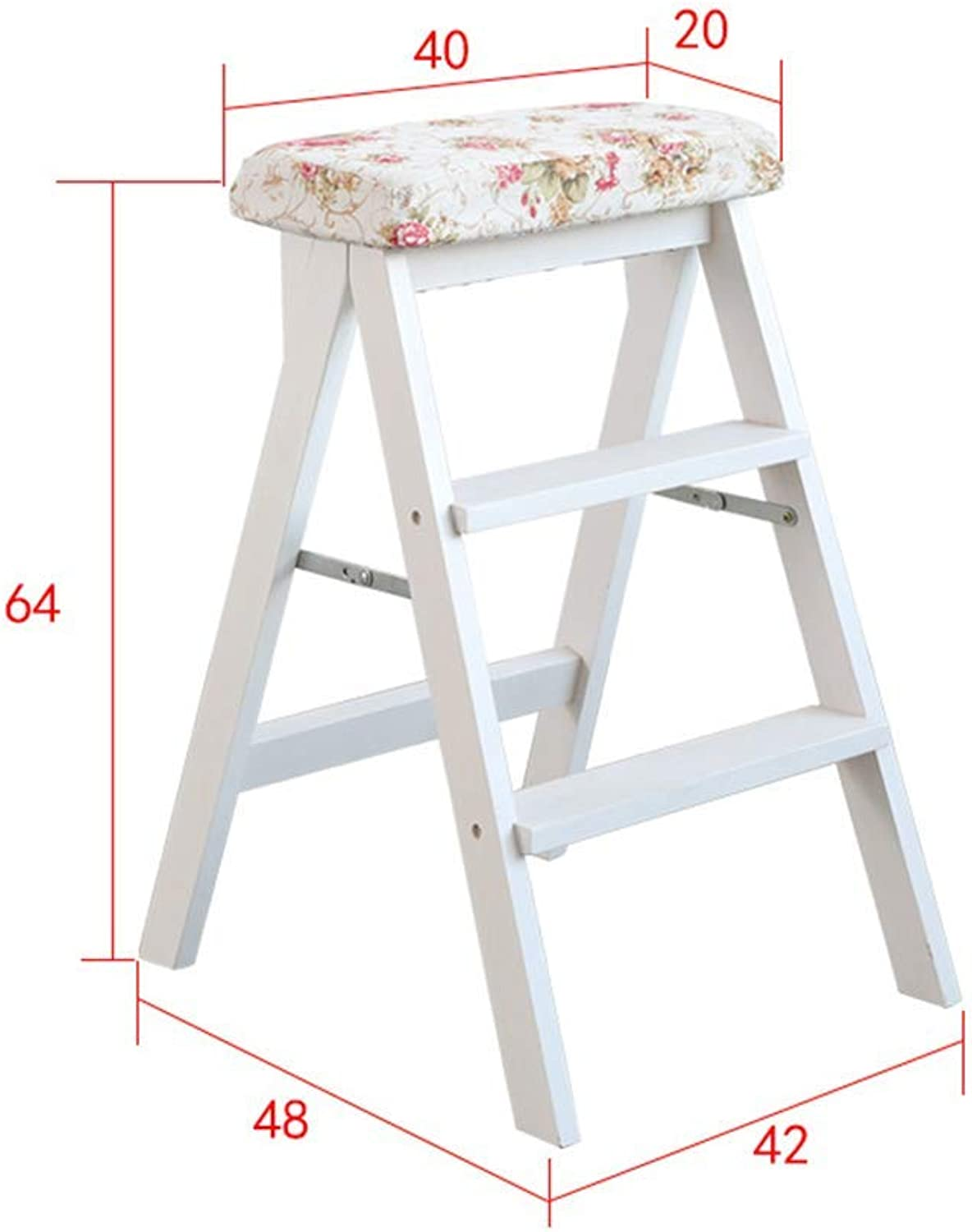 GLJJQMY Staircase Staircase Portable Folding Stool Climbing Stairs Solid Wood Chair Suitable for Kitchen Multi-Function Home Living Room Shrinking Ladder (color   Flower)