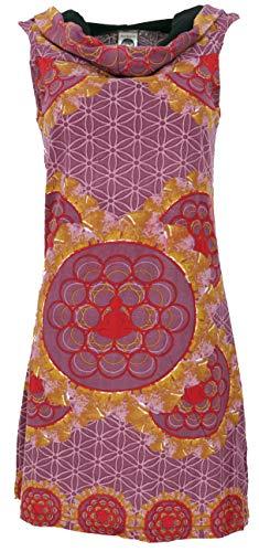 GURU-SHOP, Capuchas Buda Mandala Vestido Mini, Vestido Goa Festival, Marrón Moca, Algodón, Tamaño:S/M (34/36), Vestidos Cortos