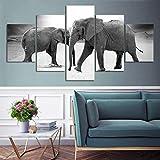 HD Print Canvas Picture 5 Panel Blanco y Negro Dos Pinturas de Elefantes Mural Decoración del hogar Cartel Moderno-Sin Marco