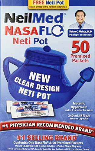 NeilMed NasaFlo Unbreakable Neti Pot with 50 Premixed Packets (Pack of 2)