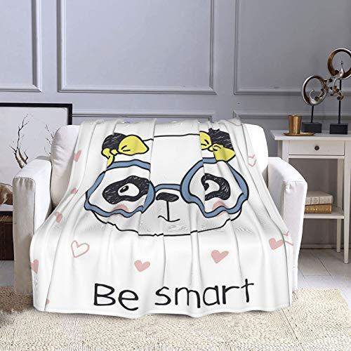 NISENASU Franela Manta para Cama Sofá Silla,Dibujado a Mano Doodle Panda Girl con Gafas sobre Fondo Blanco con Formas de corazón,Cálida,Cómoda Y Duradera 130X150CM
