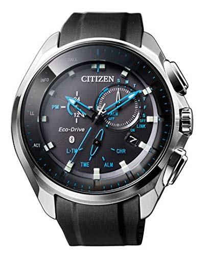 Citizen BZ1020-14E - Reloj Eco-Drive con Bluetooth, solar, con caja de acero negro y correa de silicona