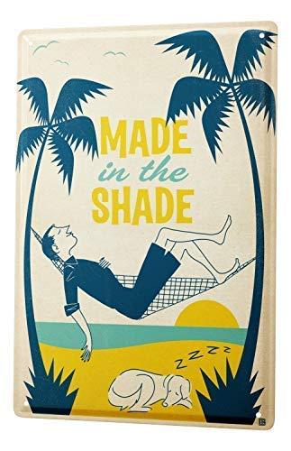 qidushop Plaque Murale rétro fabriquée dans l'ombre Hamac Palmiers Homme endormi Chien en métal Plaque Murale pour décoration Murale pour Femme et Homme