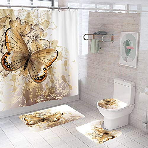 Seren Dipia Shower Curtain Sets Golden Butterfly with Non-Slip Rugs, Toilet Lid Cover and Bath Mat Durable Waterproof Bath Curtain