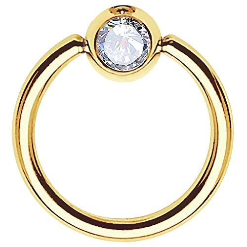 Piersando BCR Piercing Ring Universal Klemmring mit Zirkonia Kristall Klemm Kugel für Septum Brust Tragus Helix Nase Lippe Ohr Intim Nippel Chirurgenstahl Gold Clear 0,8mm x 6mm x 3mm