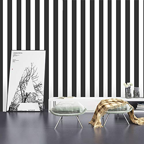 Magicvalley Papel Pintado de Vinilo Autoadhesivo a Rayas, Adhesivo para Muebles para Paredes de Dormitorio, estantes, armarios, tocador, cajón, Mesa, Aula (En Blanco y Negro, 45CMX3M)