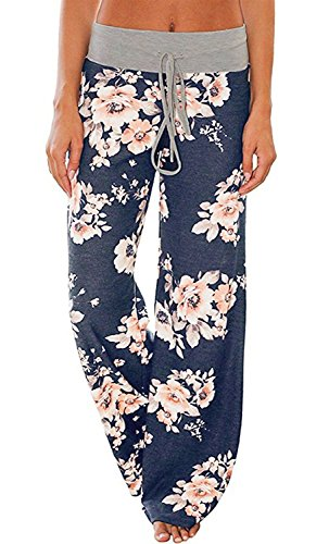 AMiERY Pajamas for Women Women's High Waist Casual Floral Print Drawstring Wide Leg Palazzo Pants Lounge Pajama Pants (Tag 3XL (US 14), Blue)