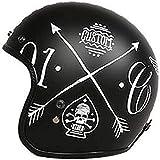 ZHXH Casco moto Harley, casco staccabile 3/4 stagioni da uomo retrò in fibra di vetro adulto retrò, certificazione Dot e standard Ece
