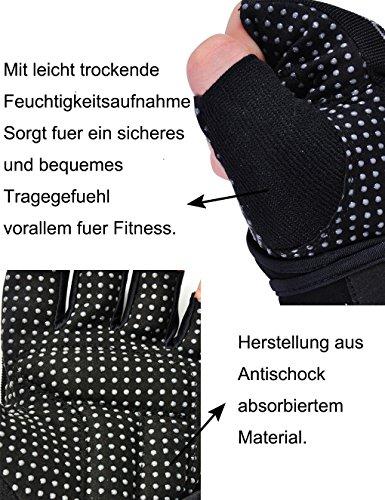 Showtime Damen Fitnesshandschuhe Handgelenkstütze Grips für Training – Schwarz/Lila – M - 5