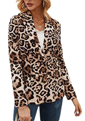 SOWTKSL Damen Blazer mit Leopardenmuster Gr. 36, Schwarz