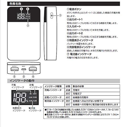 グリーンハウスGH-BTF100-BKモバイル充電器10000mAブラック