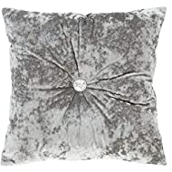 Catherine Lansfield Crushed Velvet Filled Cushion Silver, 45x45cm