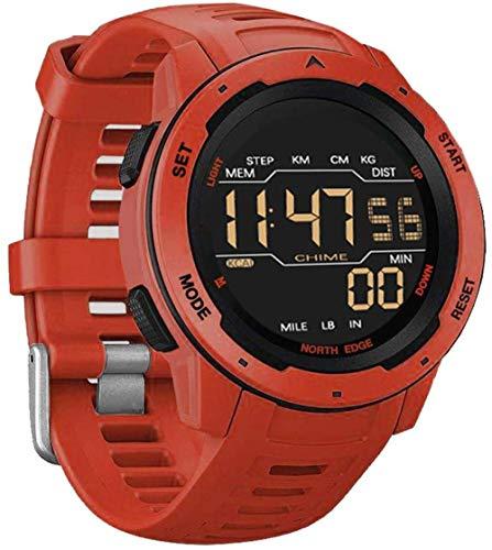 Relojes electrónicos deportivos impermeables con doble zona horaria luminosa, relojes deportivos con reloj despertador, calendario, espejo de cristal, puede contar pasos, color rojo