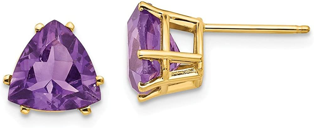 14k Yellow Gold 8mm Trillion Purple Amethyst Post Stud Earrings Birthstone February Gemstone Fine Jewelry For Women Gifts For Her