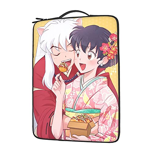 Anime Inuyasha Higurashi Kagome Laptop Sleeve Protective Soft Padded Zipper Cover Carrying Computer Bag With 13-15in Notebook Tablet15.6 inch