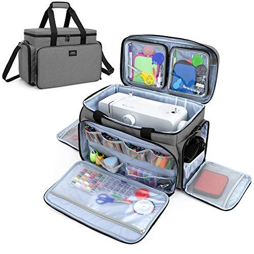 CURMIO Bolsa para Máquina Coser, Bolsa de Viaje para Máquina Coser, Maleta de Máquina Coser con 2 Bolsillos Extraíbles Transparentes, Adecuado de la mayoría de Máquina de Coser Universales, Gris.
